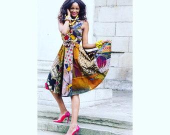 Wrap Dress African print Sosome Patchwork African Wrap Dress Ankara Womens Dress Belted Midi Print Attire