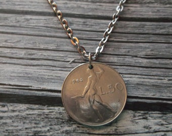 Italiana Coin Necklace 1964 - L50 Coin Pendant with Bail and Chain - Italy Coin Necklace