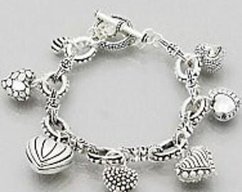 Heart Charm Bracelet, Filigree Bracelet, Valentine's Bracelet