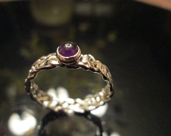 Amethyst Cabochon Birth Stone Ring with Unique Braided Band