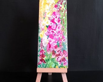 Original painting, Foxgloves flowers ,floral, garden signed by artist, alcohol ink wall shelf di splay pinks yellows greens christmas gift