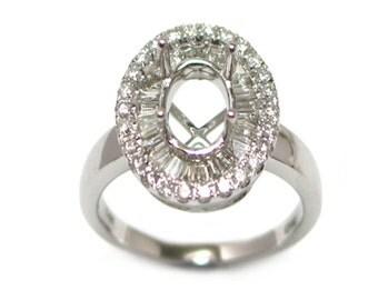 8x6mm Oval Diamond Ring Semi Mount in 14K White Gold (9328)*