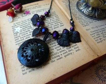 Midnight raven - black filigree Aromatherapy locket - crystal keeper amulet