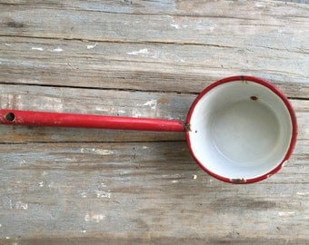 vintage enamel ware bowl, red and white pan , ladle, well cup