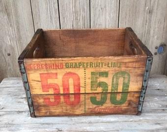 vintage 50/50 soda crate, wood soda box