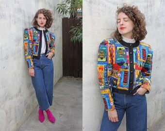 SALE Vintage 80s Jacket | 80s Cropped Quilted Novelty Desert Print Jacket | Medium M