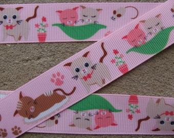 "3 yards pink ribbon Cat Grosgrain Ribbon 7/8"" paw cat ribbon"