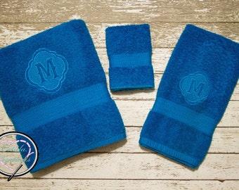 Embossed Towel Set - Bridal Shower, Wedding, Housewarming Gift