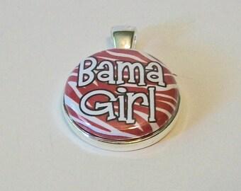 Fun Crimson and White Zebra Stripe Bama Girl Inspired Round Silver Pendant