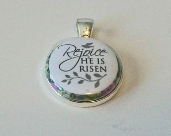 Elegant Floral Rejoice He Is Risen Easter Round Silver Pendant