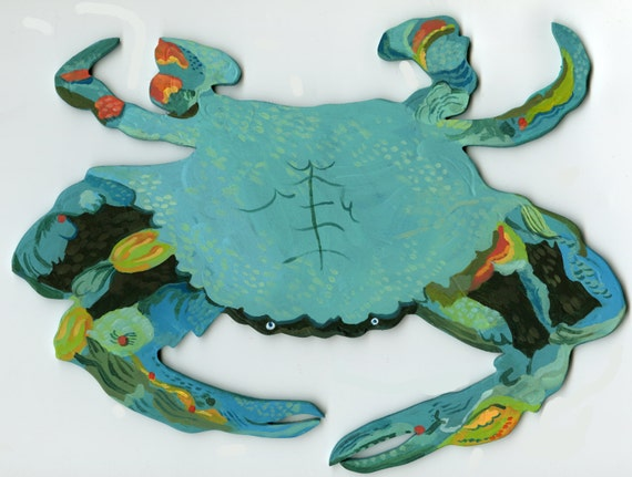 Blue Crab Fabric wall decal by Kimberly Hodges, blue crab, fabric decal, crab sticker, blue crab decal