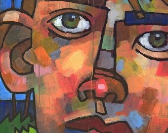 Josh at the Park, Closeup Portrait of Boy, Acrylic on Canvas