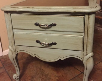 Distressed blue accent table