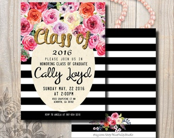 Graduation Invitation, Floral Graduation Invitation, Double-Sided, Stripes Gold Glitter, Watercolor Roses, DIY