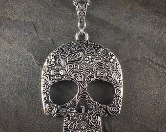 "Gothic Day of the Dead SUGAR SKULL Silver Pendant Necklace +30"" Chain; Large"