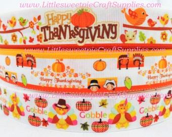 "7/8"" Fall-Thanksgiving-Halloween-Pumking-Gobble-Tukey-Printed grosgrain ribbon hair bows supplies- Craft Supplies"