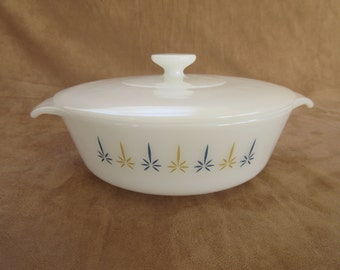 Vintage Fire King Casserole Dish with Lid, No.436, 1 Quart , Candle Glow Design