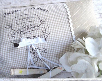 Wedding pillow with names and date