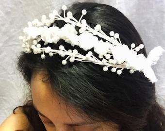 Floral headband. Wedding headband. Easter headband. Flower girl headband. Vintage headband.