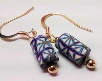 Patterned bead drop earrings