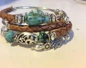 SUNDANCE Boho Chic Leather and Turquoise Memory Wrap Bracelet