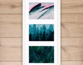 Art print trio painted, 3 colorful giclee prints from original paintings on archival bamboo fine art paper, sky, mountains, forest, ferns