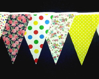 Fabric Bunting 30ft Long (approx) Mixed designs Hand made Vintage style