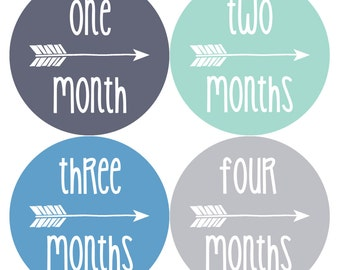 NEW Monthly Baby Sticker Month Stickers Monthly Baby Stickers Tribal Baby Month Stickers Arrows Milestone Stickers Photo Boy 1063