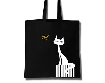 A Cat and the Star Cotton Tote Bag Canvas Bag Women