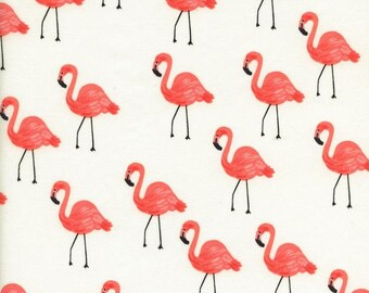 Flamingos in Ivory (Cotton Lawn Fabric) by Rifle Paper Co. from the Les Fleurs collection for Cotton and Steel