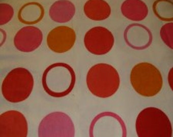 Gold and pink Circles on White Cotton Flannel