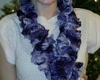 Dark purple Ruffled Scarf, Handmade FREE SHIPPING (shown doubled)
