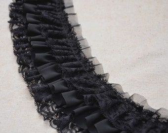 Black Fold Lace / White Ruffle Lace Trim for Baby Dress, Collar, Sewing, Costume Supplies