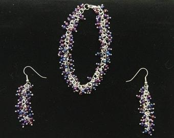 Multicolored Iris Glass Bracelet & Earrings Set