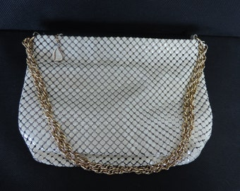 Vintage Whiting Davis White Metal Mesh Convertible Chain Shoulder Bag to Handbag
