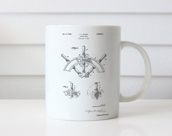 Ship Steering Wheel Patent Mug, Nautical Decor, Ship Wheel, Nautical Mug, Boat Decor, PP0228