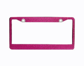 Hot Pink Crystal Rhinestone license Plate Frame With Crystal Screw Caps