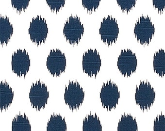 SHIPS SAME DAY Premier Prints Jo Jo Slub Fabric, Ikat Premier Navy Fabric, Polka Dot Home Decor Weight Fabric, Navy Ikat Fabric by the yard