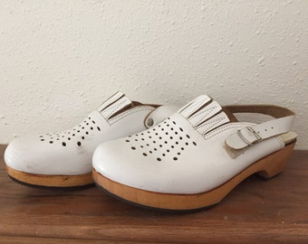 Krone Wooden Heel White Leather Clogs