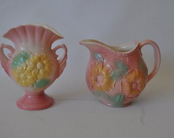 Vintage Hull Pink Art Pottery. 1940's Sunglow, Pink and Yellow. Choose Urn, Vase or Both. Collectible.