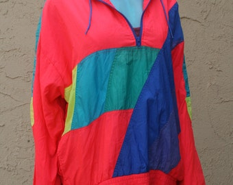 1980s Neon Windbreaker Jacket London Towne Limits Sz L