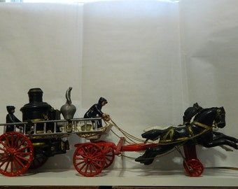 Vintage Cast Iron Fire Engine