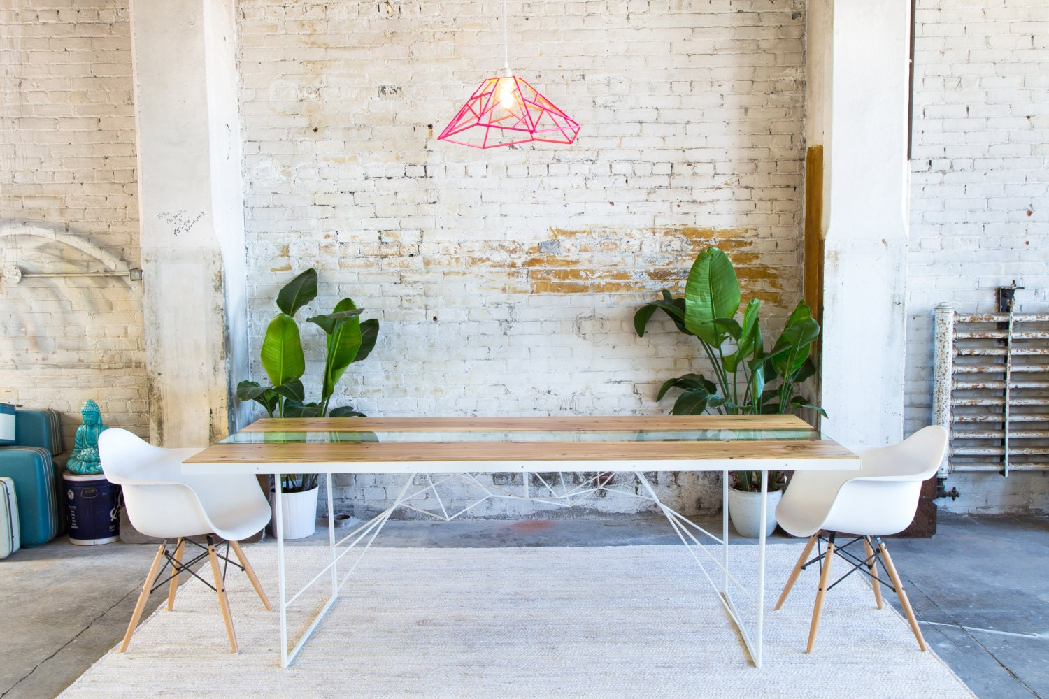Modern Dining Table Glass Reclaimed Live