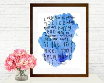 If This isn't Nice I Don't Know What Is Kurt Vonnegut Quote Hand-lettered Watercolor Art