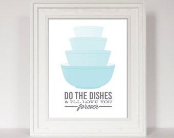 Pyrex Bowls, Kitchen Art, Retro Kitchen Decor, Do The Dishes, You Wash, Vintage Bowls, Housewarming Gift, Pyrex Print, Funny Kitchen Print
