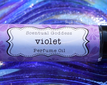 VIOLET PERFUME OIL - 1/3 oz Roll on Scented Body Oil - Sweet African Violets Floral Perfume Oil