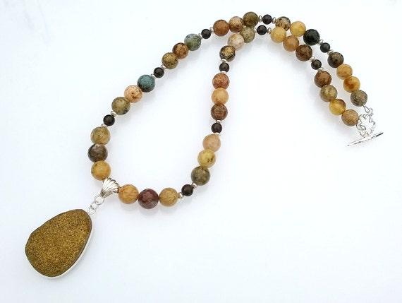Agate Beaded Necklace, Druzy Pendant Necklace