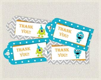 Blue Green Thank You Favor Tags Birthday Monster Orange 1st 2nd 3rd Printable Boys IV-5