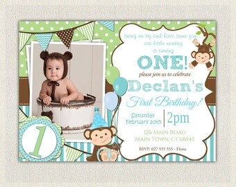 Boys Blue and Green Monkey 1st Birthday Invitation / Printable Download / First Birthday Monkey Invitation Invites Blue Green Bunting