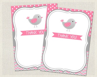 Thank You Cards Printable Birthday Bird Gray 1st 2nd 3rd Pink Girls IV-9
